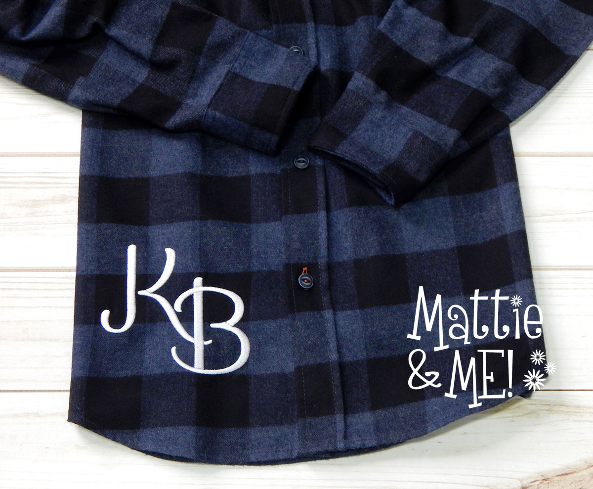 flannel shirt hip monogram close up finish