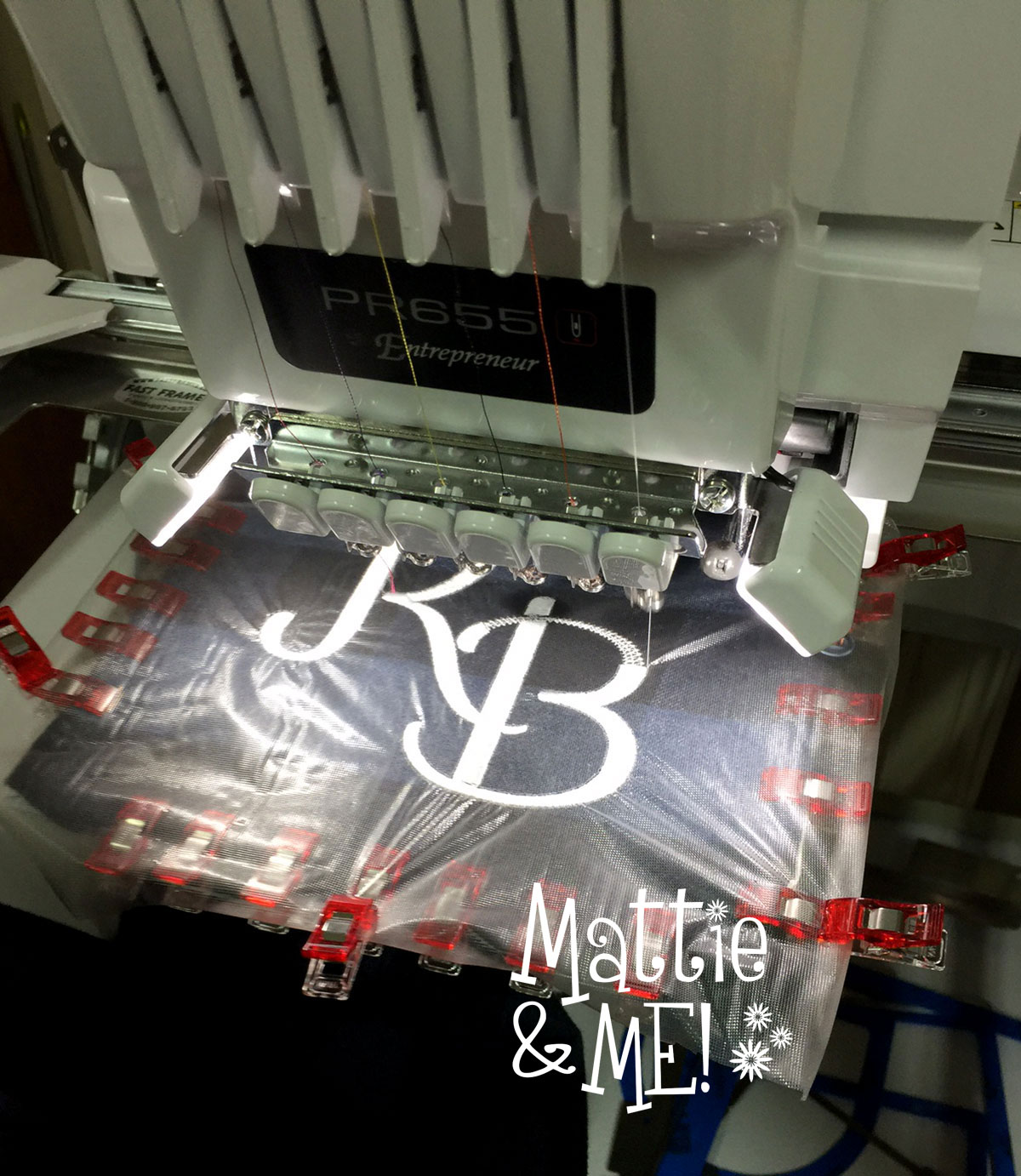 flannel shirt hip monogram on the machine
